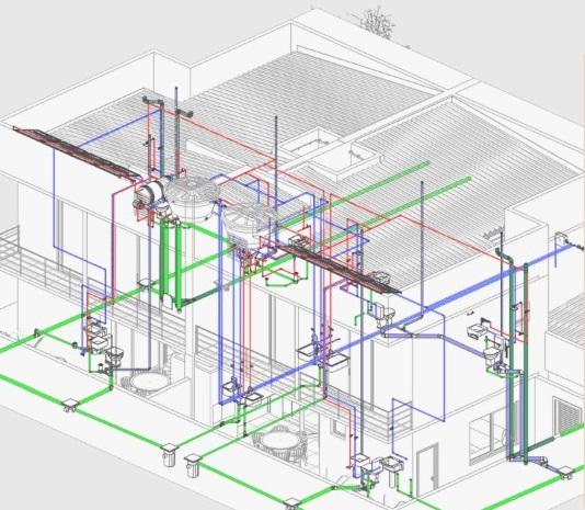A figura contém um exemplo de Projetos hidrossanitários em Revit