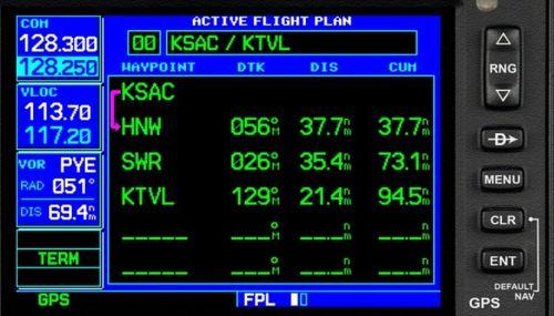 Garmin GNS 430/530: Planejamento de voo