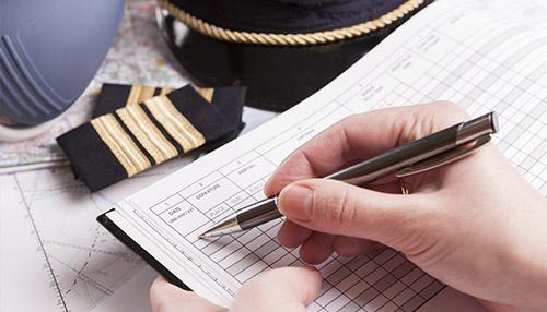 Preenchimento de cadernetas e diários de bordo